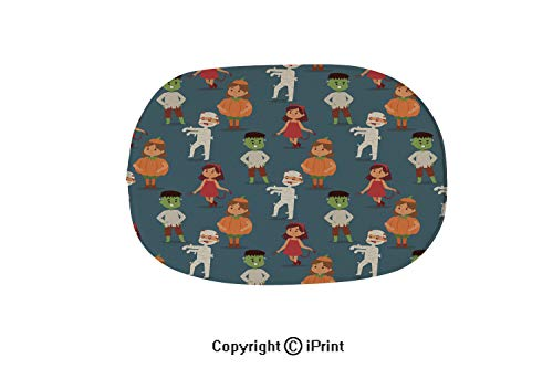 Colorful Bathtub Mat,Non-Slip Big Drain Hole with Suction Cups Extra Soft,Cute Kids Wearing Halloween Party Costumes vector2,15.7