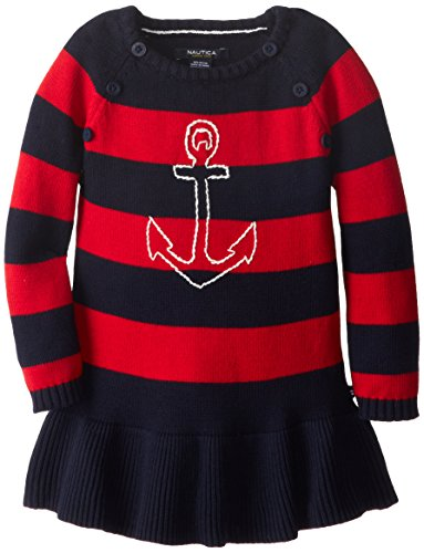Nautica Little Girls' Anchor Sweater Dress, Red, 2T
