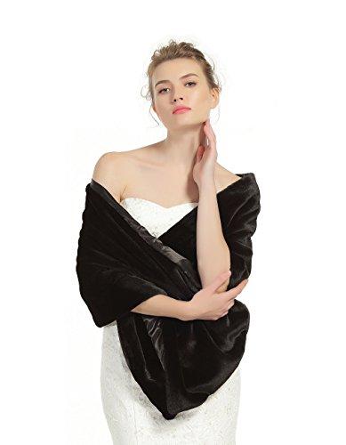 Shawl Wrap Faux Fur Shrug Stole Scarf Winter Bridal Wedding Cover Up Black