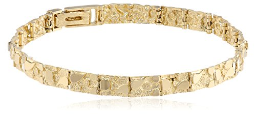 Men's 14k Solid Yellow Gold Nugget Diamond-Cut Bracelet, 8.5