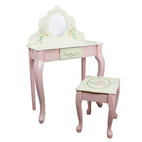 Fantasy Fields - Bouquet Thematic Kids Classic Vanity Table and Stool Set with Mirror | Imagination Inspiring Hand Crafted & Hand Painted Details   Non-Toxic, Lead Free Water-based Paint Carved Wooden Vanity