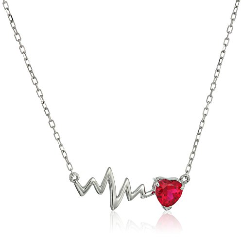 Sterling Silver Created Ruby Heartbeat Chain Necklace, 18