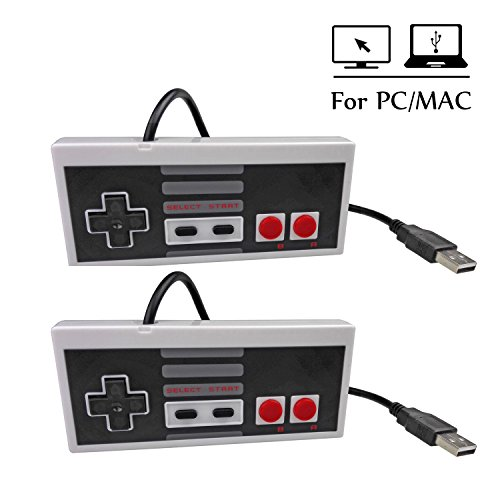Mekela 2 Packs 5.8 feet Classic USB wired Controller Gamepad resembles NES for Windows PC MAC (Gray and Gray)