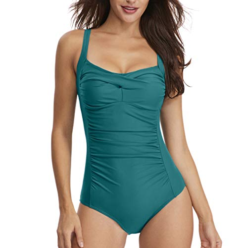 Women's Modest Vintage Inspired One Piece Monokini Swimsuit Twist Tummy Control Bikini Plus Size Bathing Suits Teal ()