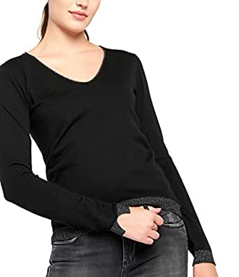 BENANCY Women's Simple V-Neck Pullover Soft Knit Long Sleeve Sweater Top Black XS