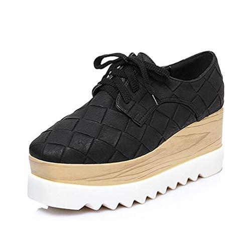 Lace Femmes Talons Casual Toe Sneakers Noir Automne À Printemps Compensés Up Chaussures Carré Ladies wtx58CqPn