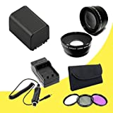 BP-819 Lithium Ion Replacement Battery w/External Rapid Charger + 58mm 3 Piece Filter Kit + 58mm Wide Angle Lens + 58mm 2x Telephoto Lens for Canon Vixia HFG10 XA10 HFS10 HFS20 HFS21 HFS30 HFS100 HFS200 Digital Camcorder DavisMAX BP819 Accessory Bundle