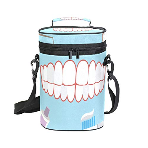 2 Bottle Insulated Wine Tote Bag Teeth Pattern Wine Carrier Travel Padded Cooler Bag with Shoulder Strap, Perfect Wine Lover's Gift, Great for Picnics and Outdoor Entertaining