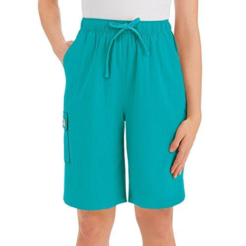 Womens Crinkle Cotton Gauze Clothing Cargo Elastic Waist Bermuda Short