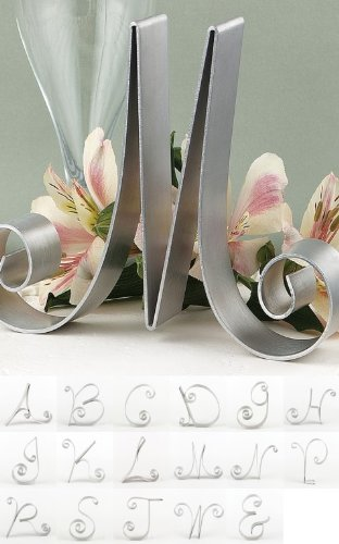 RaeBella Weddings Script Metal Initial Cake Top Letter Aluminum Topper (C) Crystal Heirloom Frame