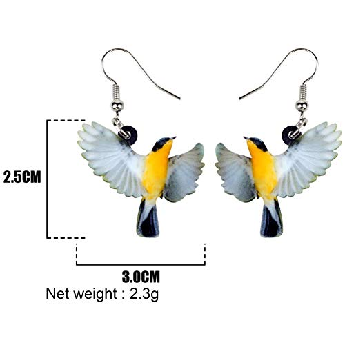 IUTING Acrylic Flying Oriole Bird Earrings New Long Dangle Drop Fashion Animal Jewelry for Women