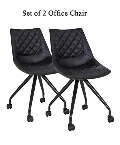 Aosun Armless Home Office Desk Chairs Set of 2 Midback Lounge Chairs with Wheels PU Leather Soft Ergonomic Computer Swivel Chair for Work/Study (Black)