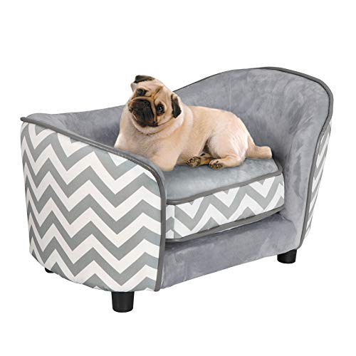 ZENY Pet Sofa Bed, 26.5'' x 16'' x 16'' Deluxe Sofa-Style Pet Bed for Dogs & Cats Pet Lounge Sofa with Removable Cushion, Gray