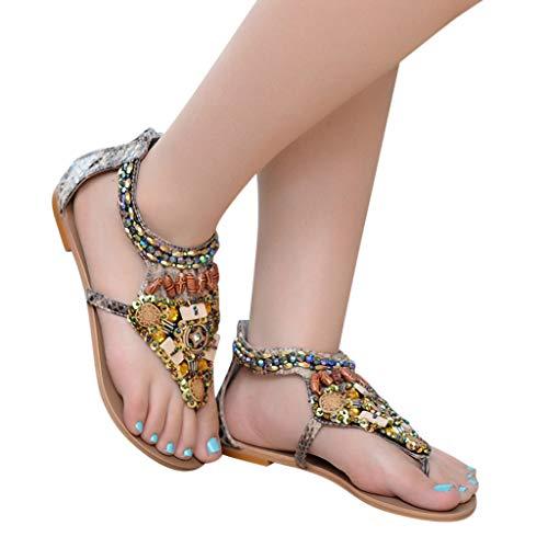 Femme Mode Beige à Noir Open Rome Sandales pointu Stiletto Red Bohemia Flats Sunnywill Formelles On Escarpins String Tongs Chaussures Slip bout Beige Bead qS5Bndvw