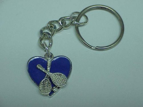 Love Tennis Key Ring (I Love Tennis Heart Keychain Key Chain - Royal Blue (Brand New))
