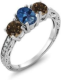 1.84 Ct Royal Blue Mystic Topaz Brown Smoky Quartz 925 Sterling Silver Ring