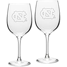 NCAA North Carolina Tar Heels Adult Unisex Set of 2 - 19 oz Robusto Red Wine Glasses Deep Etch Engraved, One Size, Clear
