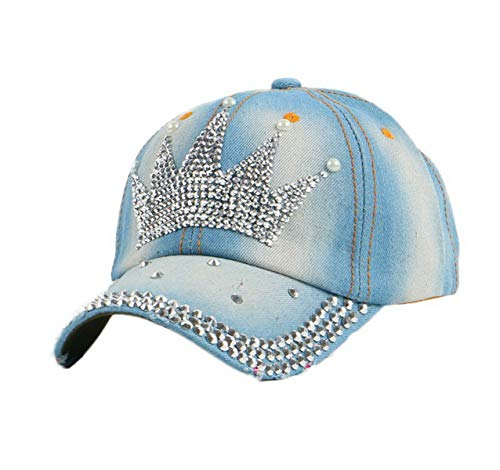 OBERORA Women's Rhinestone Denim Pearl Crown Baseball Caps Studded Bling Ponytail Sun Hat Adjustable
