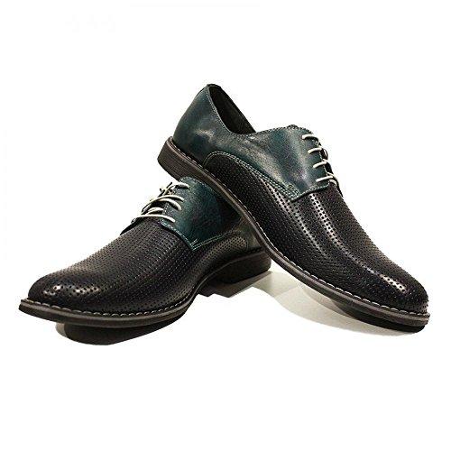 Modello Pancrazio - Handmade Italiennes Cuir Pour Des Hommes Black Chaussures Oxfords - Cuir de vachette Cuir gaufré - Lacer