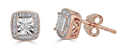 Diamond Fashion Stud Earrings in 10k Rose Gold and Rhodium Plated 10k White Gold (1/20th (Diamond Square Stud)
