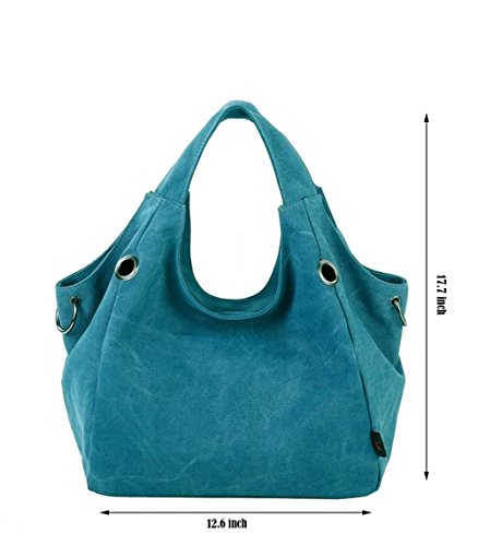 Puluo Shoulder Large for Bags Bag Black Handbag Women Canvas Canvas Bag Tote Blue Slouch 6qZw6F0r