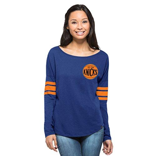 NBA New York Knicks Women's '47 Ultra Courtside Long Sleeve Tee, X-Large, Booster (University Womens Cap Sleeve T-shirt)