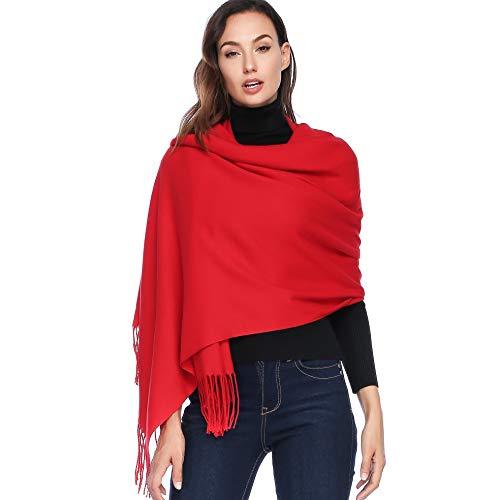 HOYAYO Cashmere Wool Shawl Wraps - Extra Large Thick Soft Pashmina Scarf(Red) ()