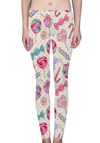 (Sweet Lollipop Candy Cane Women's Ultra Soft Popular Printed Fashion Leggings Tight Pants (XL))