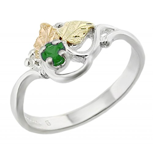 Created Emerald May Birthstone Ring, Sterling Silver, 12k Green and Rose Gold Black Hills Gold Motif, Size 4.75