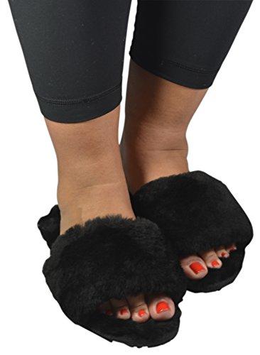 Minx Ny - Kissables Shearling Fur Slide Slipper Indoor Women Pelose Diapositive Nere