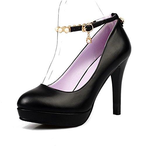 AllhqFashion Mujer PU Material Suave Hebilla Tacón Alto Puntera Redonda ZapatosdeTacón Negro