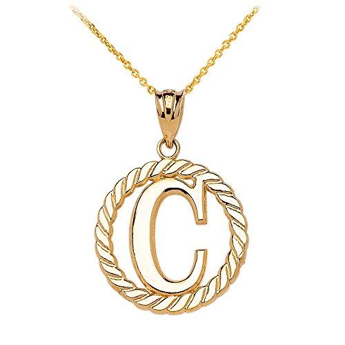"""Collier Femme Pendentif 14 Ct Or Jaune """"C"""" Initiale À Corde Cercle (Livré avec une 45cm Chaîne)"""