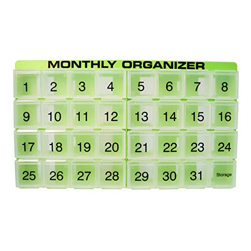 Pill Organizer Large Extra (31 compartments, 1 per Day, 4 Week Monthly Pill Organizer by Promed. Includes Tray and 8 Removable compartments. (Green))