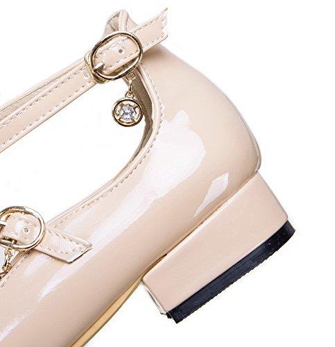 AgooLar Damen Schnalle Niedriger Absatz Blend-Materialien Schließen Zehe Pumps Schuhe Aprikosen Farbe