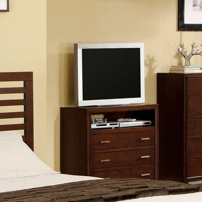 Furniture Of America CM7068TV Contemporary Style Brown Cherry Tone Media Chest by Furniture of America