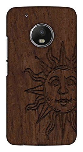 Blutec Sun On Wooden Board Design Printed Polycarbonate Back Cover for Motorola Moto G5 Plus  Brown
