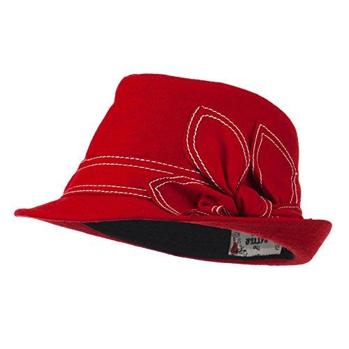 Ladies Fedora with Ribbon and Stitching - Red (Fedora Hat Ladies)