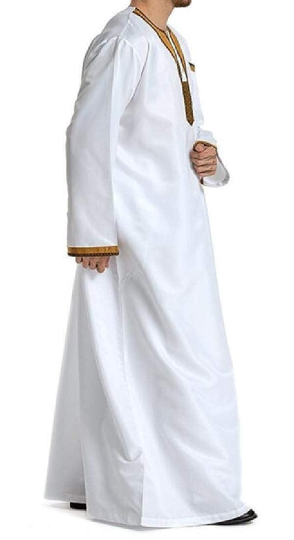 WAWAYA Mens Splicing Classic Muslim Robes Round Neck Long Sleeve Blouse Shirt Tops