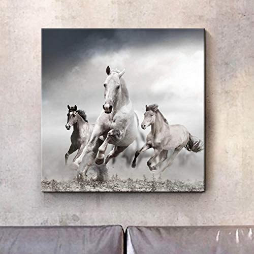Running Horses Picture Wall Art: Wild Animals Artwork Print Gray Painting