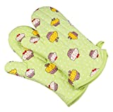 YKeen with Quilted Liner Insulated Grip Safely Heat Resistant Convenient Hanging Loop Baking Glove Green One Size