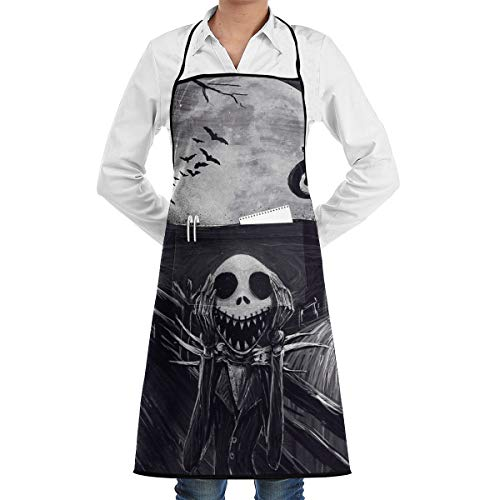LALACO-Design The Scream Before Christmas Cooking Women Kicthen Bib Aprons with Pockets for Chef,Grandma Suitable for Baking,Grilling,Painting Even Fit for Arts,Holiday