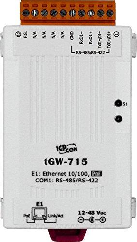 ICP DAS USA ICP-tGW-715 Tiny Modbus TCP to Modbus RTU / ASCII PoE Gateway, with 1 RS-422/RS-485 port.