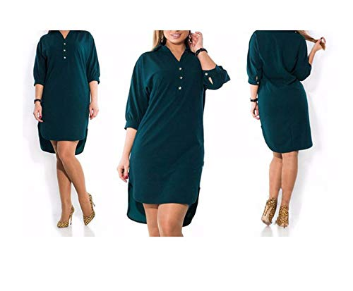 Dresses Long Sleeve Solid Casual Dress Loose Irregular Midi Shirt Dress Plus Size Women Clothing,Green,4XL