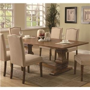 Parkins Rectangular Pedestal Coffee Brown Dining Table (Dining Table Rectangular Pedestal compare prices)