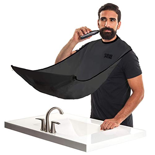 Beard Bib. Official BEARD KING Beard Catcher. Mens Grooming Cape For Shaping and Trimming. One Size Fits All. Static and Stick Free Fabric (Lite)
