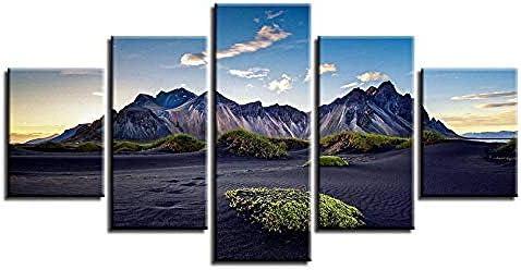 壁掛け 装飾画Hdプリント画像5ピース青空白い雲と山の自然風景モジュラーキャンバス絵画装飾リビングルーム壁アート-30x40cmx2/30x60cmx2/30x80cmx1
