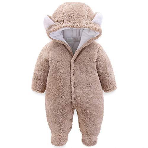JiAmy Baby-sneeuwpak met capuchon, voor de winter, van fleece, lange mouwen, 0-12 maanden.