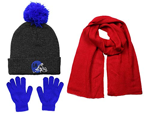 Polar Wear Boys Knit Hat, Scarf And Gloves Set With Patches- Blue/Charcoal