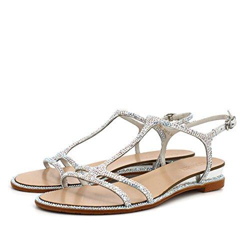 diamantes de del zapatos puntos planos del sandalias de mujeres de casual para imitación Plata tela TMKOO tela verano zapatillas párrafo densa amp; con de fxnv44