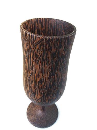 1PCS 6.25''X2'' NEW WINE ,ฺฺฺBRANDY GLASS SOUVENIR CUP CARVED WOODEN THAI HANDCRAFT PALM WOOD
